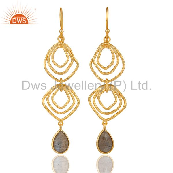 Labrodorite Asymmetrical Dangle 14K Gold Plated 92.5 Sterling Silver Earring