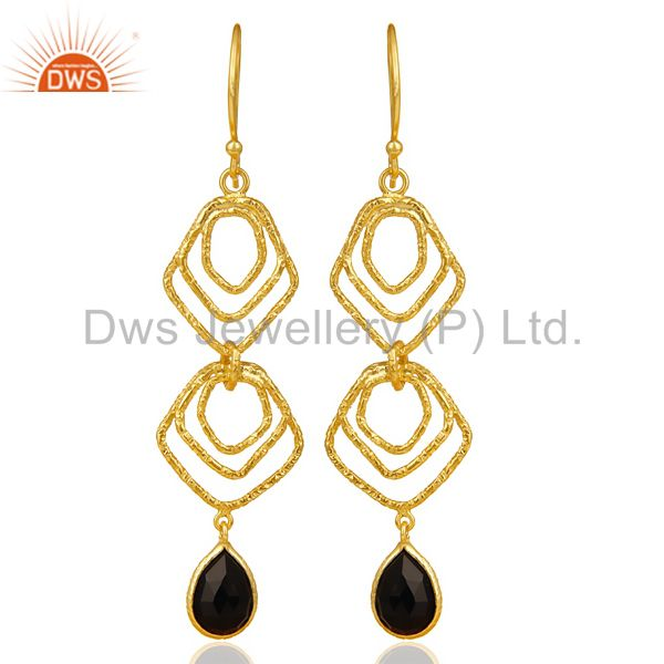 Black Onyx Asymmetrical Dangle 14K Gold Plated 92.5 Sterling Silver Earring
