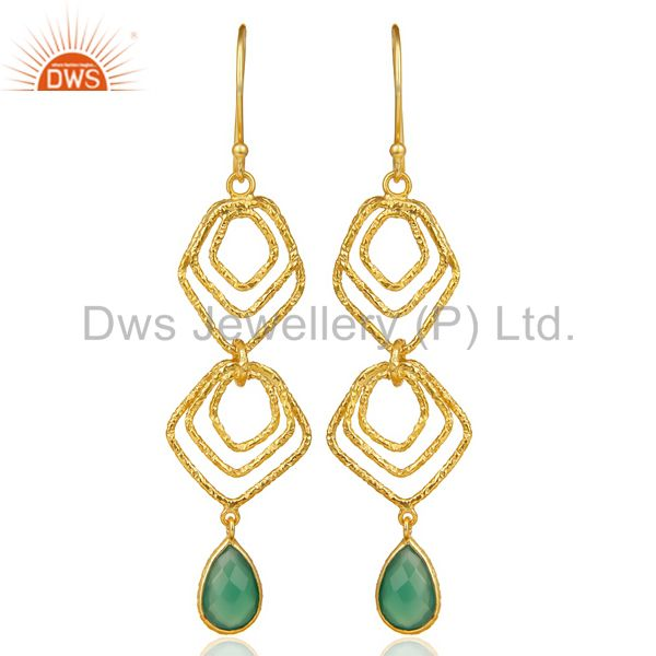 Green Onyx Asymmetrical Dangle 14K Gold Plated 92.5 Sterling Silver Earring