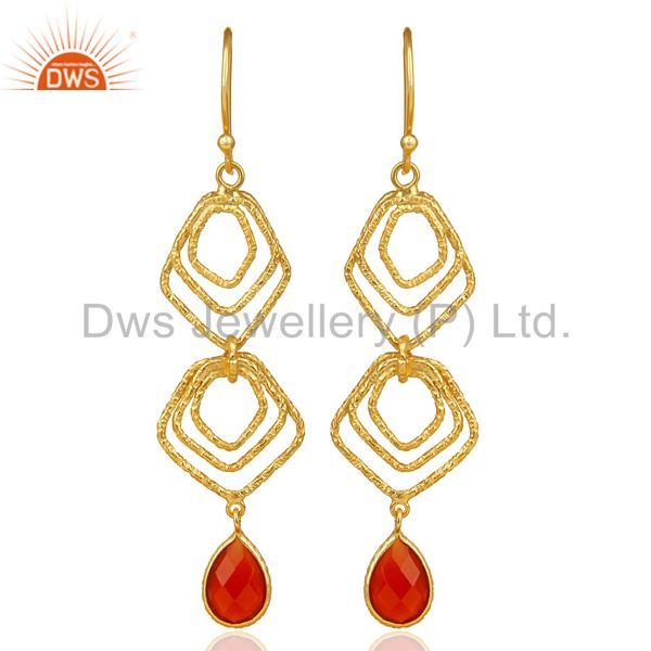 Red Onyx Asymmetrical Dangle 14K Gold Plated 92.5 Sterling Silver Earring