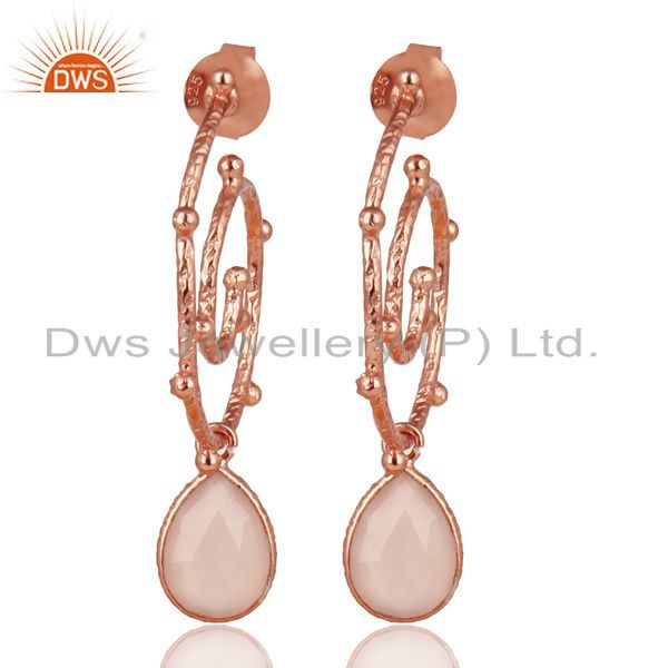 18k Rose Gold Plated Sterling Silver Chalcedony Wedding Style Bezel Earrings