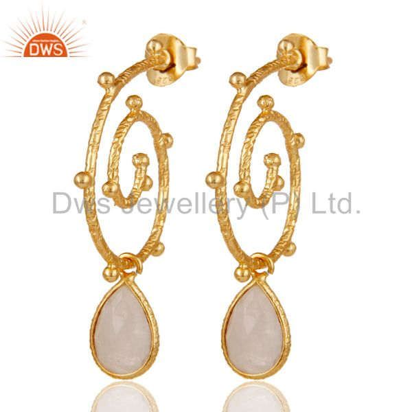 18k Gold Plated 925 Sterling Silver Moonstone Wedding Style Bezel Set Earrings