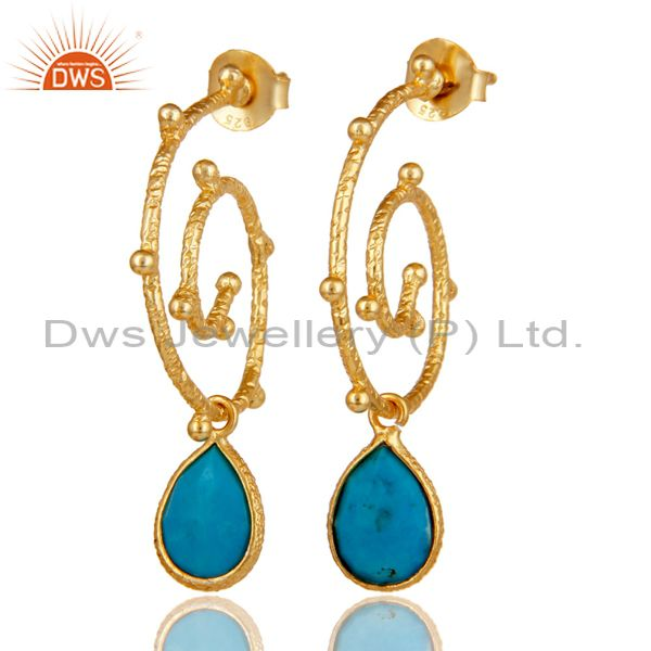 18k Gold Plated 925 Sterling Silver Turquoise Wedding Style Bezel Set Earrings