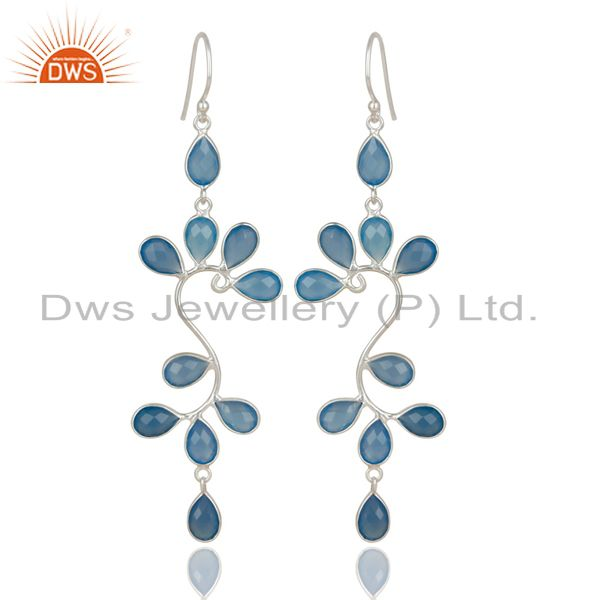 Handmade Solid 925 Sterling Silver Blue Chalcedony Bezel Set Dangle Earrings
