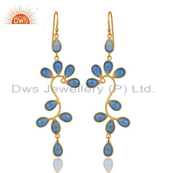 18K Yellow Gold Plated 925 Sterling Silver Blue Chalcedony Dangle Earrings
