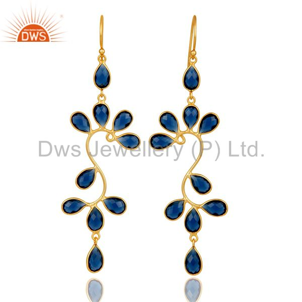 18K Yellow Gold Plated 925 Sterling Silver Blue Corrundum Dangle Earrings