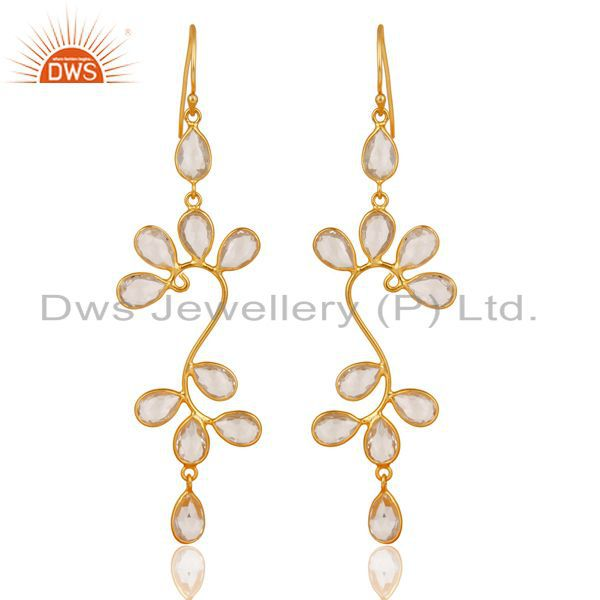 18K Yellow Gold Plated 925 Sterling Silver Crystal Quartz Dangle Earrings