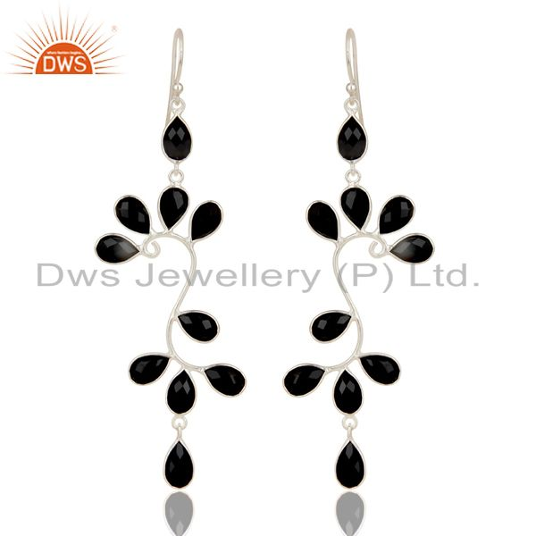 Handmade Solid 925 Sterling Silver Black Onyx Gemstone Bezel Set Dangle Earrings