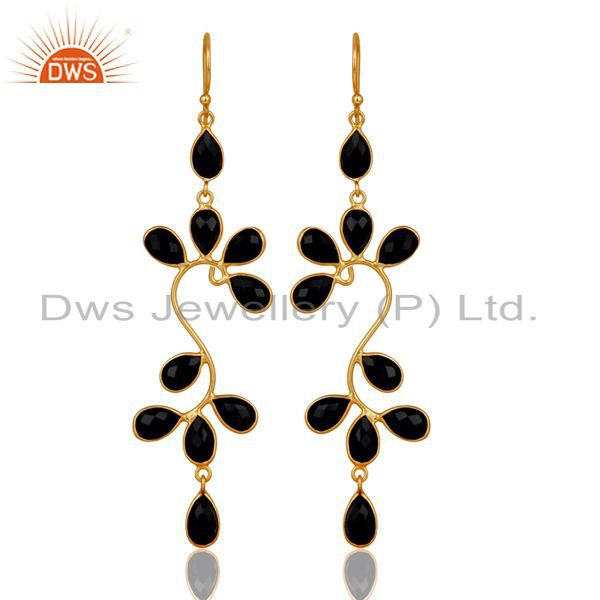 14K Gold Plated Sterling Silver Black Onyx Gemstone Bezel Set Dangle Earrings