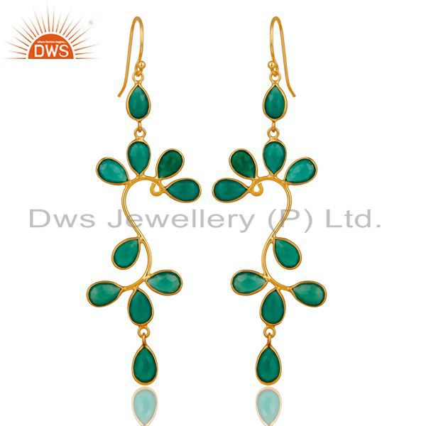 18K Yellow Gold Plated 925 Sterling Silver Green Onyx Gemstone Dangle Earrings