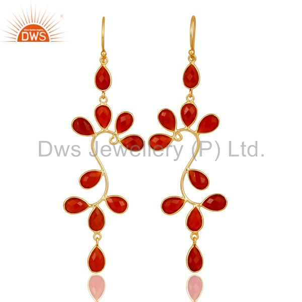 18K Yellow Gold Plated 925 Sterling Silver Red Onyx Gemstone Dangle Earrings