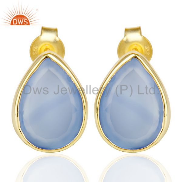 Blue Chalcedony Pear Shape Flat Back Gold Plated Stud Earring In Silver
