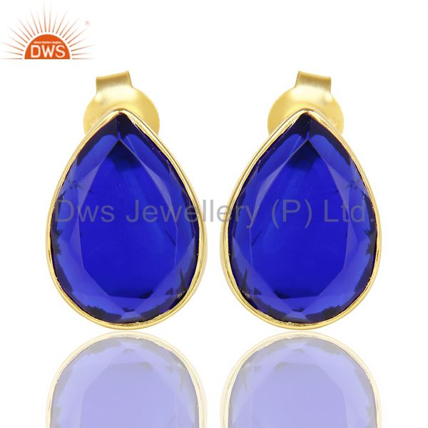 Blue Corundum Pear Shape Flat Back Stud 14K Gold Plated 92.5 Silver Earring