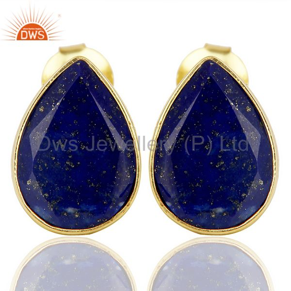 Natural Lapis Pear Shape Flat Back Gold Plated Stud Earring In Solid Silver