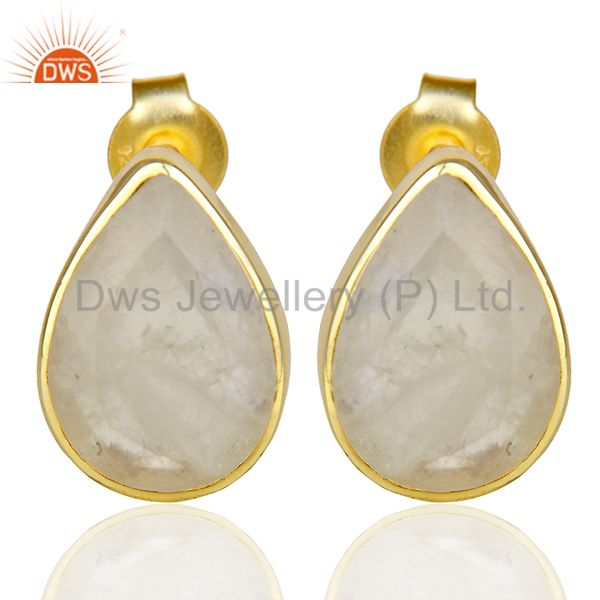 Natural Rainbow Moon Stone Pear Shape Flat Back Gold Plated Stud Earring