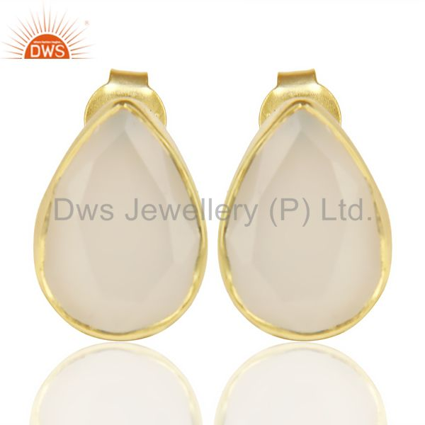 White Chalcedony Pear Shape Flat Back Stud 14K Gold Plated 92.5 Silver Earring