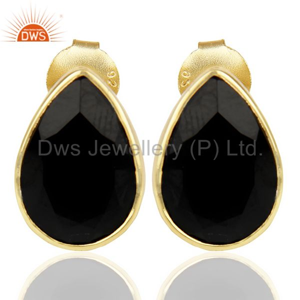Black Onyx Pear Shape Flat Back Gold Plated Stud Earring In Solid Silver