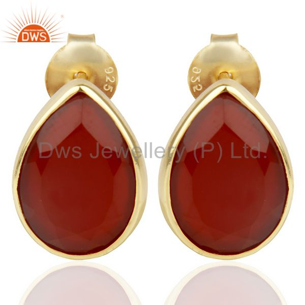 Red Onyx Pear Shape Flat Back Gold Plated Stud Earring In Solid Silver