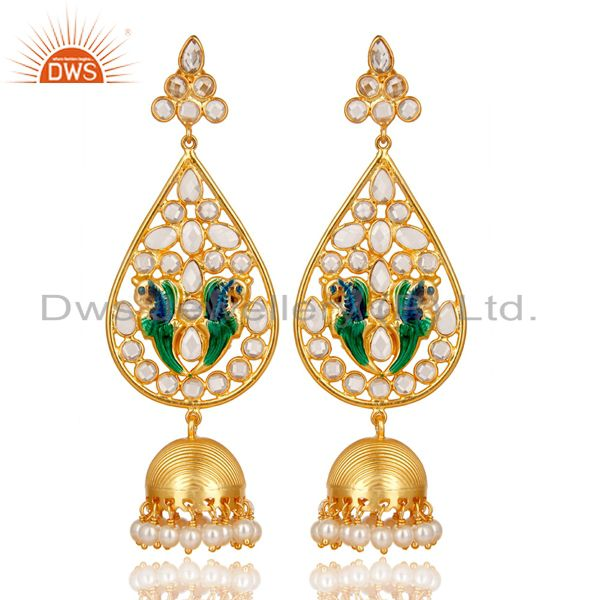 14K Gold Plated 925 Sterling Silver White Zircon & Pearl Beads Jhumka Earrings