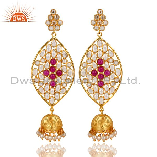 14K Gold Plated Sterling Silver White Zircon, Pearl & Red Glass Jhumka Earrings