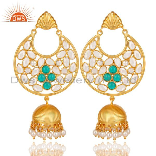 18K Gold Plated 925 Sterling Silver White Zircon, Pearl & Glass Jhumka Earrings