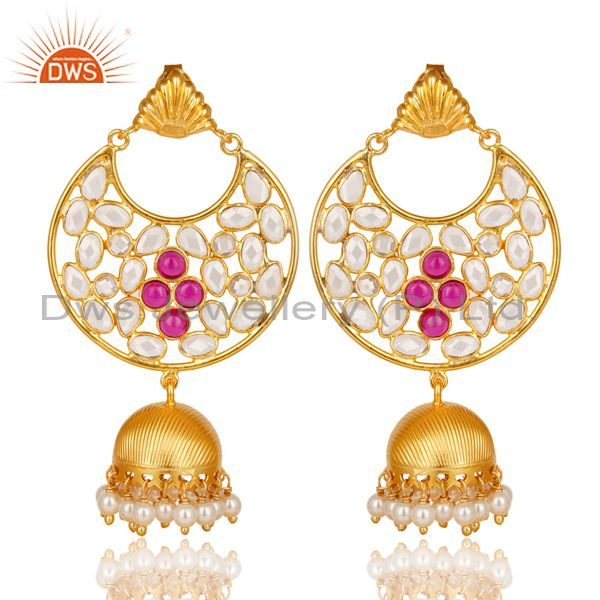 18K Gold Plated Sterling Silver White Zircon, Pearl & Red Glass Jhumka Earrings