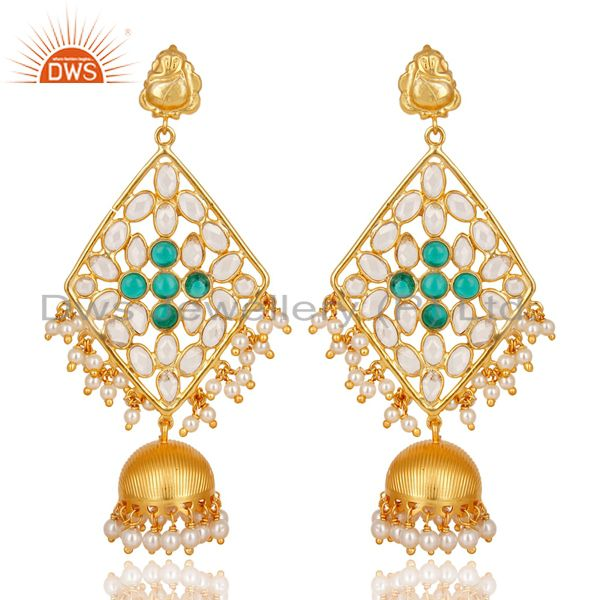 CZ, Pearl Beads & Green Glass Jhumka Earring Made In 18K Gold Plated 925 Silver