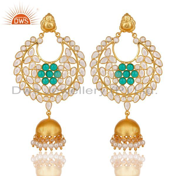 18K Gold Plated 925 Sterling Silver Pearl, Green Glass & CZ Jhumka Earrings
