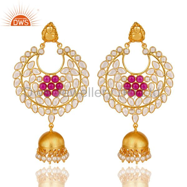 18K Gold Plated 925 Sterling Silver Pearl, Red Glass & CZ Jhumka Earrings