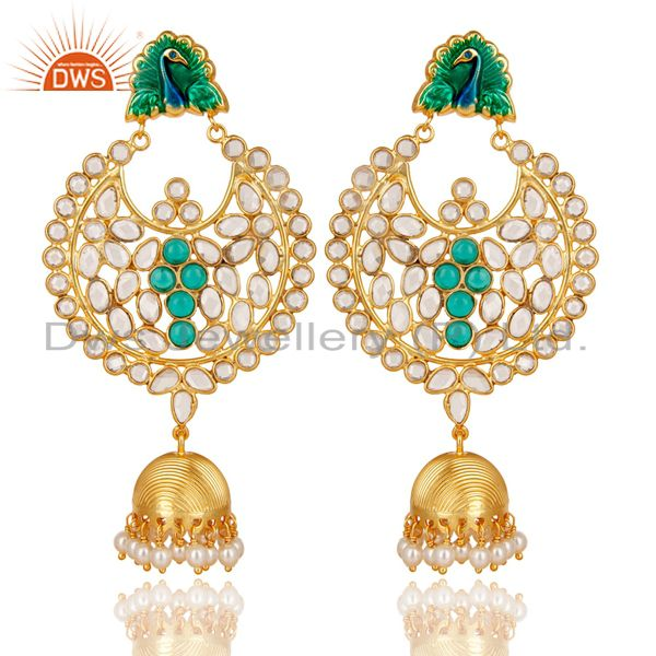 14K Gold Plated 925 Sterling Silver Pearl, CZ & Green Glass Jhumka Earrings