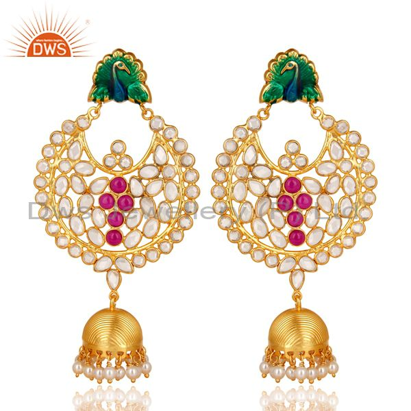 18K Gold Plated Sterling Silver Pearl Beads, Red Glass & CZ Jhumka Earrings