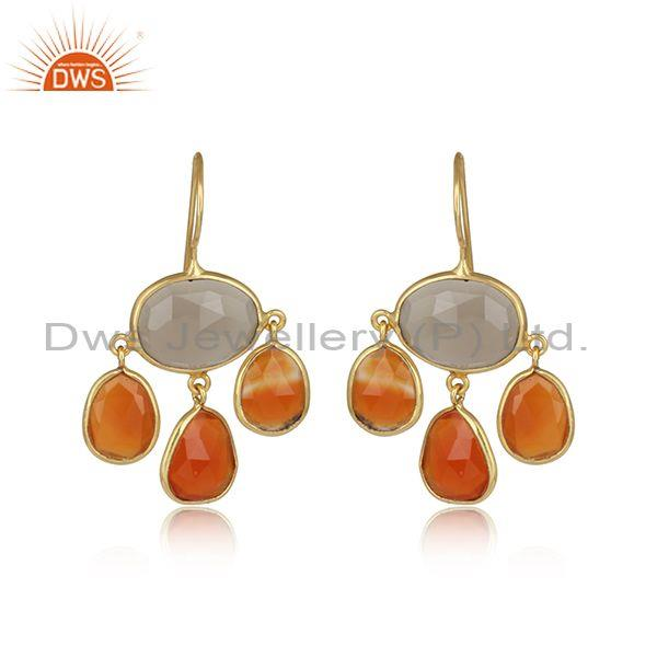 Carnelian & Gray Chalcedony Gemstone Gold On Silver Earring