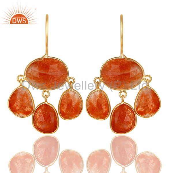 14K Yellow Gold Plated 925 Sterling Silver Natural Sun Stone Chandelier Earring