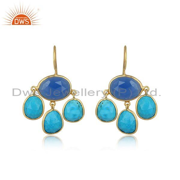Newly gold on silver turquoise and blue chalcedony earring