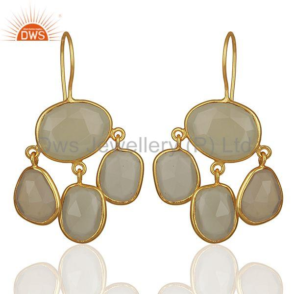 White Chalcedony Gemstone Gold Plated 925 Silver Drop Earrings