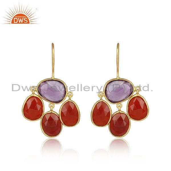 Charming Gold On 925 Silver Amethyst & Red Onyx Earring
