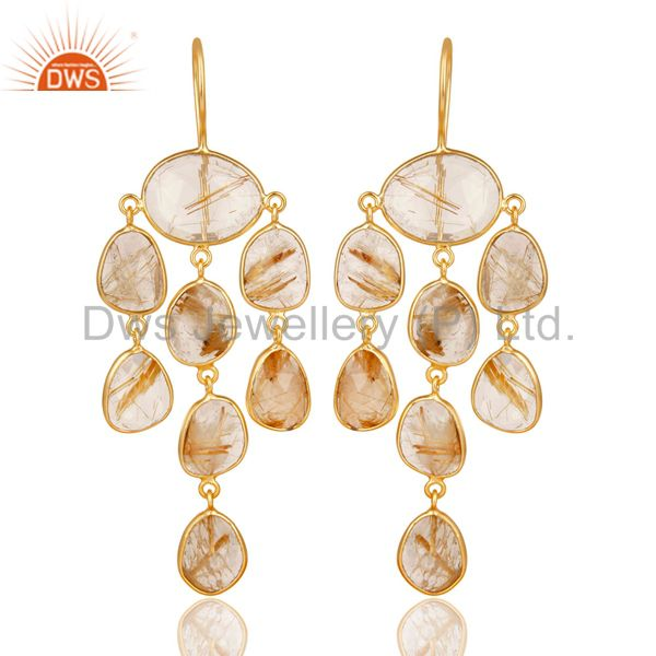 14K Gold Plated 925 Sterling Silver Routile Golden Chandelier Earrings Jewelry
