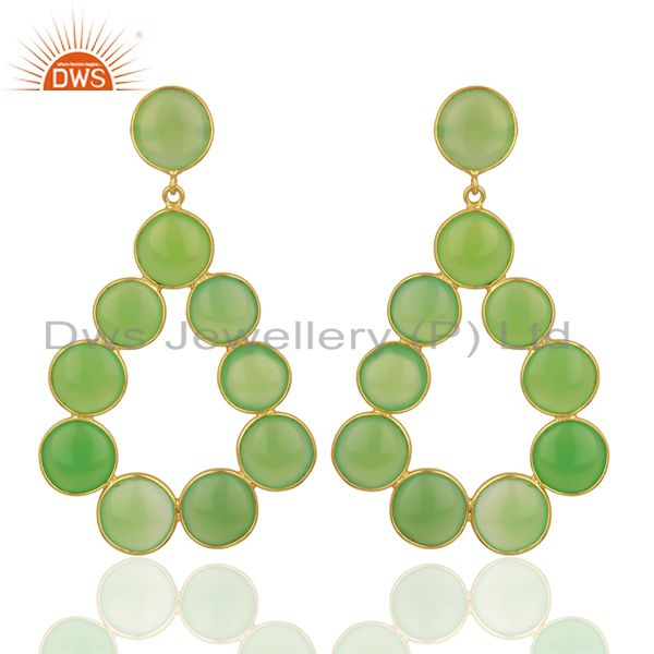 Green Chalcedony Dangle 18K Yellow Gold Plated 925 Sterling Silver Earrings