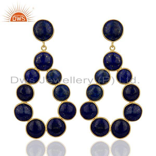 Lapis Lazuli Dangle 18K Yellow Gold Plated 925 Sterling Silver Earrings