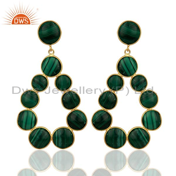 Malachite Dangle 18K Yellow Gold Plated 925 Sterling Silver Earrings
