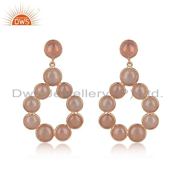 Rose chalcedony dangle in rose gold on 925 sterling silver