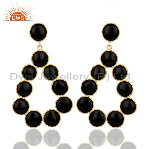 Black Onyx Dangle 18K Yellow Gold Plated 925 Sterling Silver Earrings