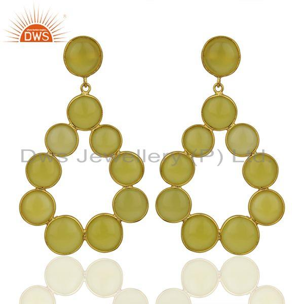 Yellow Chalcedony Dangle 18K Yellow Gold Plated 925 Sterling Silver Earrings