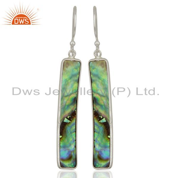 Abalone Shell Rectangle 92.5 Sterling Silver Dangle Earrings Gemstone Jewellery