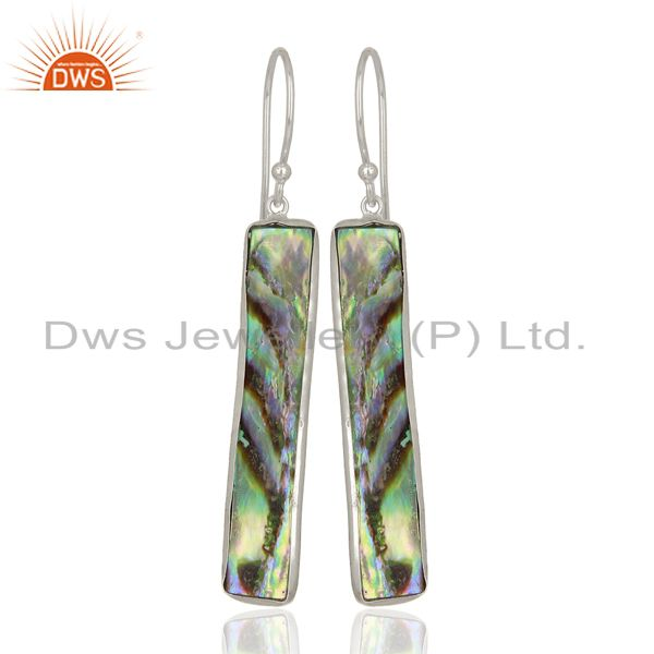 Abalone Shell Rectangle Sterling Silver White Rhodium Plated Dangle Earrings