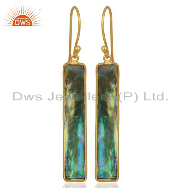 Abalone Shell Rectangle 92.5 Sterling Silver 18K Gold Plated Dangle Earrings