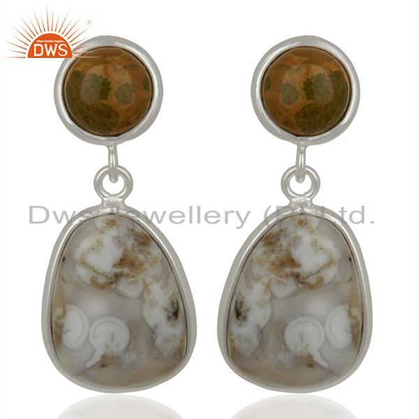 Sterling Silver Designer Earring Ocean Jasper Gemstone Dangle Earrings