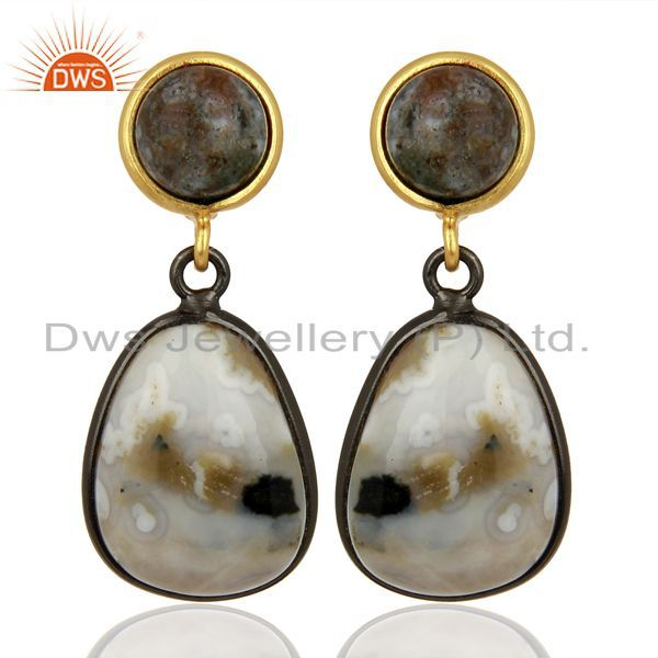 Handmade 925 Sterling Silver Ocean Jasper Gemstone Dangle Dro Earrings