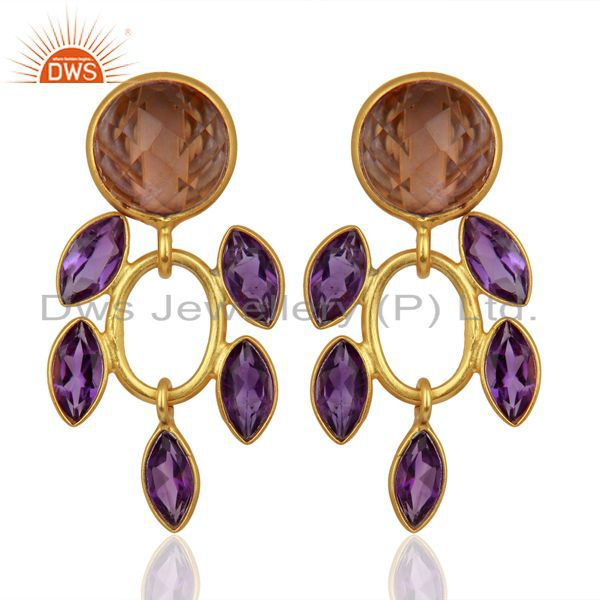New Designer Natural Amethyst Gemstone Gold Plated Silver Earrings