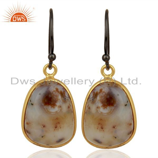Yellow Gold Plated 925 Silver Ocean Jasper Gemstone Earrings Jewelry